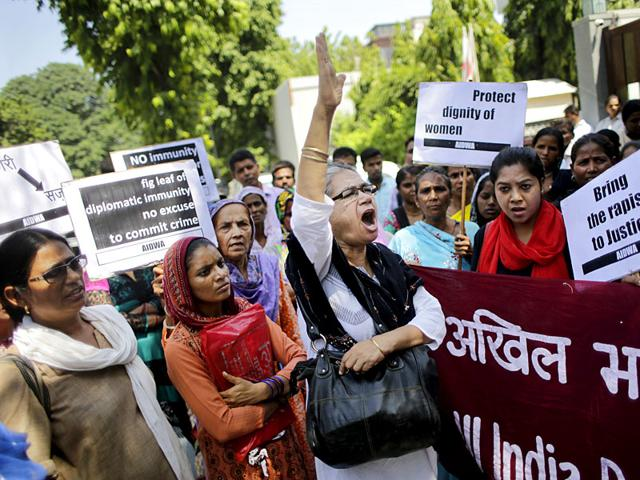 The two Nepalese women who were harassed by Saudi diplomat in Gurgaon, at Nepal embassy in New Delhi (Sushil Kumar/ HT Photo)