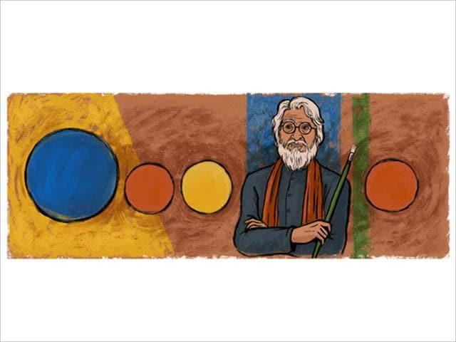 A Google doodle celebrates MF Husain's 100th birth anniversary.