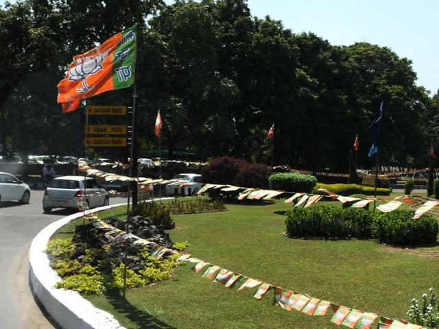 BJP flags during the PM visit. HT File Photo