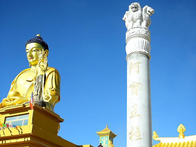 A Buddhist stupa, reportedly commissioned by king Ashoka, was renovated in China's Qinghai province. (HT Photo)