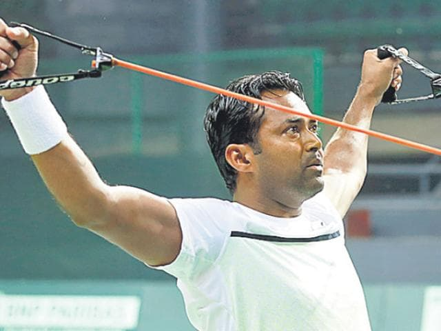 Despite the mental turmoil of a legal battle off court for the custody of his daughter, Leander Paes' zen-like focus and discipline has kept him going on the tour for 25 years, helping him win three Grand Slam titles this year. (Ravi Choudhary/HT Photo)