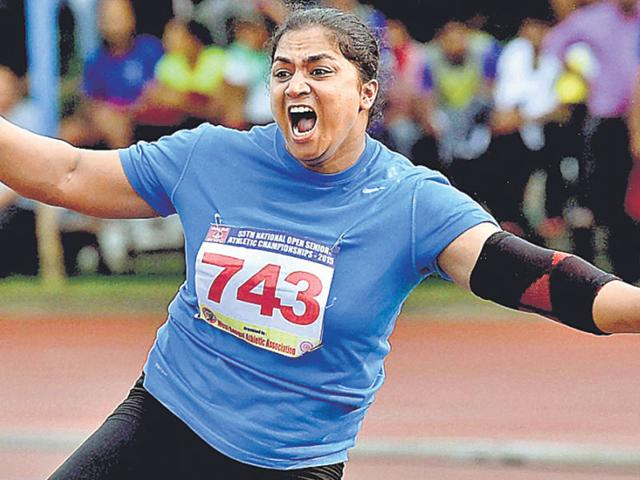 Manpreet Kaur reacts after setting a new National Record in the women's shot put event during the 55th National Open Athletics Championship 2015 in Kolkata, on September 16, 2015. (PTI Photo)