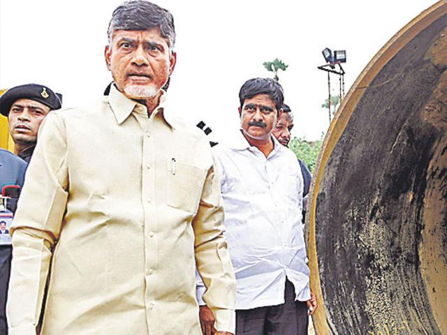 Andhra Pradesh CM Chandrababu Naidu at the first phase of the Pattiseema project in West Godavari on Wednesday. (HT Photo)