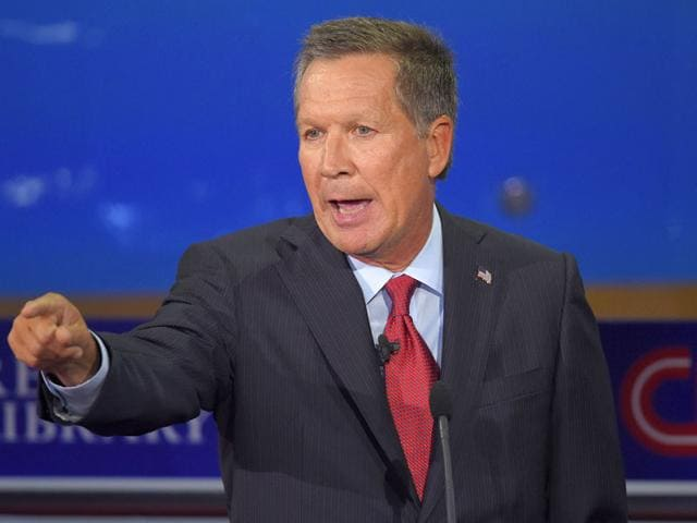 Republican presidential candidate, Ohio Governor John Kasich speaks at the CNN Republican presidential debate at the Ronald Reagan Presidential Library and Museum on Wednesday. (AP Photo)