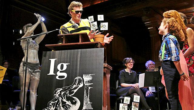 Michael Smith, a Cornell University graduate student who allowed himself to be stung about 200 times by bees to determine where you feel the most pain on the body from a sting, makes an acceptance speech while being honored at the Ig Nobel Prize ceremony at Harvard University, in Cambridge.