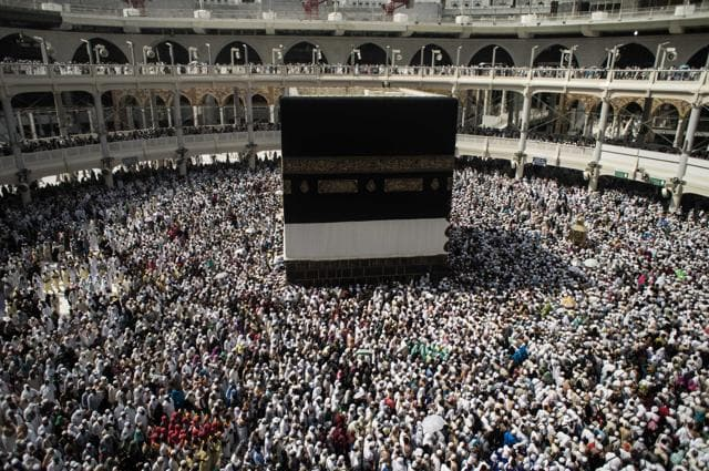 Muslim pilgrims circle the Kaaba, the cubic building at the Grand Mosque in the Muslim holy city of Mecca, Saudi Arabia. Despite the crane accident, almost one million pilgrims arrived ahead of the haj.