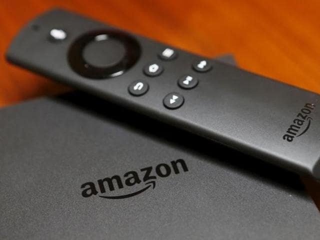 The new Amazon Fire TV is displayed during a media event introducing new Amazon products in San Francisco, California.