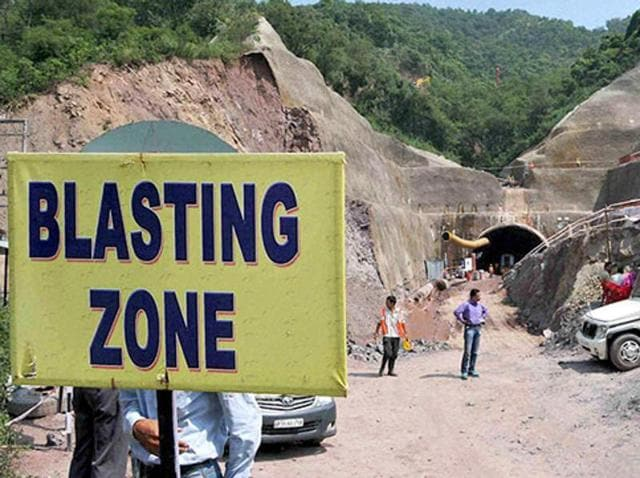 The spot where three labourers have been trapped since last week, when the under-construction tunnel of Kiratpur-Manali four-lane road project collapsed, at Tihra in Bilaspur district of Himachal Pradesh .