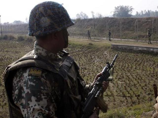 A soldier near the area where the body was found.
