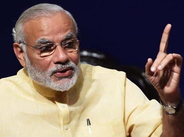 Prime Minister Narendra Modi speaking at an event in New Delhi.