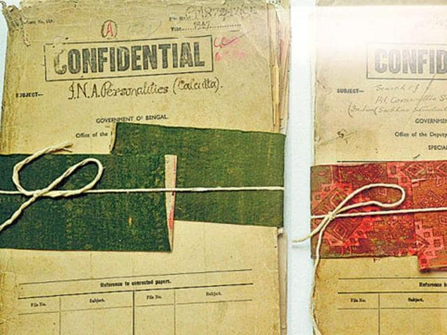 Files relating to Indian freedom fighter Netaji Subhas Chandra Bose are displayed at the Police Museum in Kolkata. The West Bengal government has declassified 64 files related to Netaji Subhas Chandra Bose, which have been placed in the archives of the Kolkata police museum.