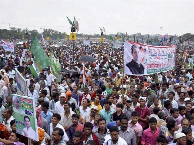 Combination photo of Lalu Prasad of RJD, Nitish Kumar of JD(U) and CP Joshi of Congress. RJD, JD(U) and Congress.