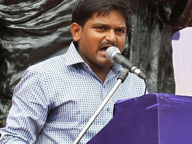 Hardik Patel, convenor of Patidar Andolan Samiti speaks during a mega rally in Ahmedabad.(AP File Photo)
