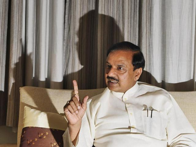 Union culture minister Mahesh Sharma speaks during an interview with Hindustan Times at his residence in Noida.