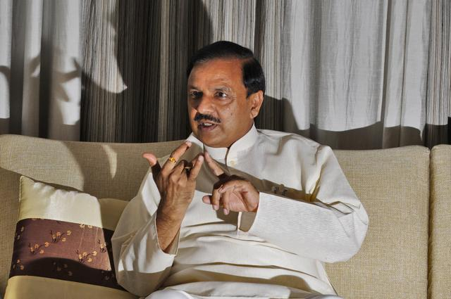 Union Culture Minister Mahesh Sharma speaks during an interview with Hindustan Times at his residence in Noida, India, on Saturday.