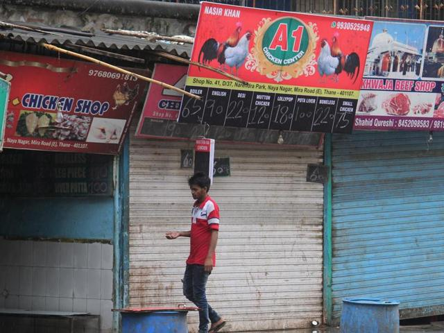 Shops shut down in Mumbai as the state government enforced the meat ban on September 10.