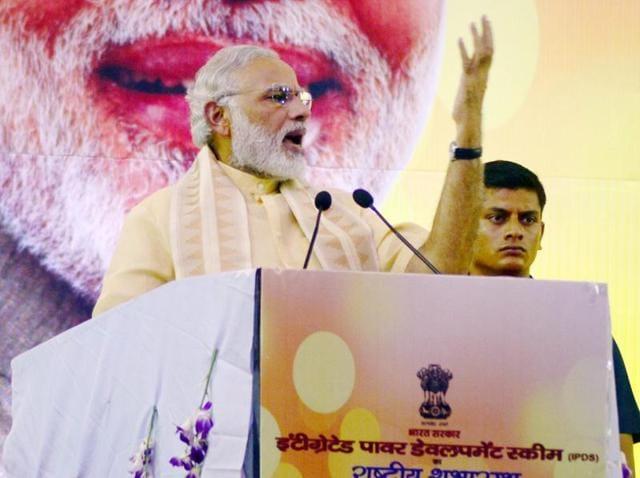 Varanasi : Prime Minister Narendra Modi addressing a public rally.