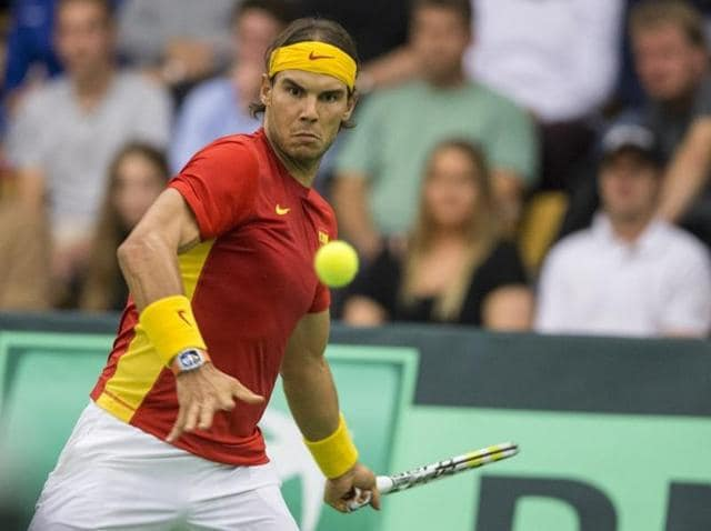 Rafael Nadal of Spain during his Davis Cup relegation playoff match against Mikael Toregaard of Denmark in Odense, Denmark, on September 18, 2015.