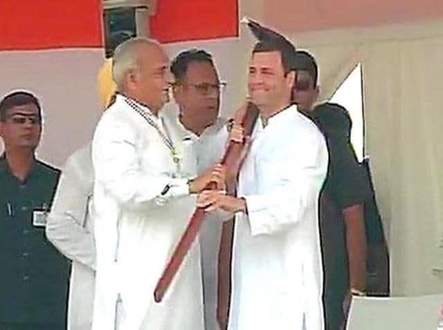 Congress vice president Rahul Gandhi at 'Kisaan mazdoor samman rally' in Delhi.