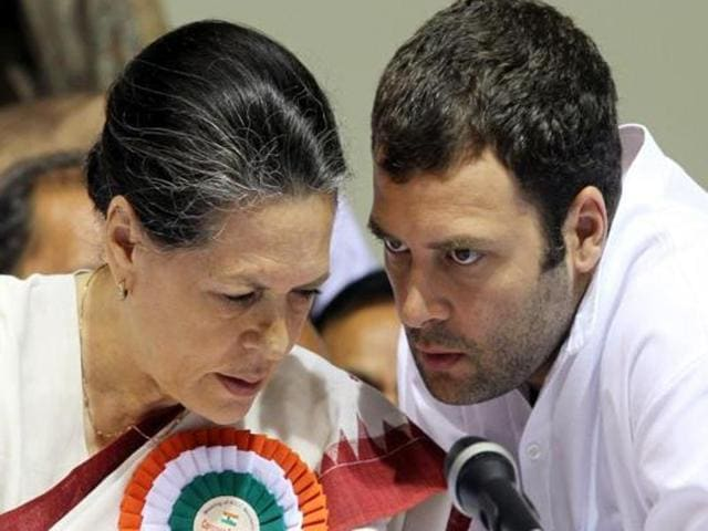 A file photo of Congress president Sonia Gandhi with Rahul Gandhi.