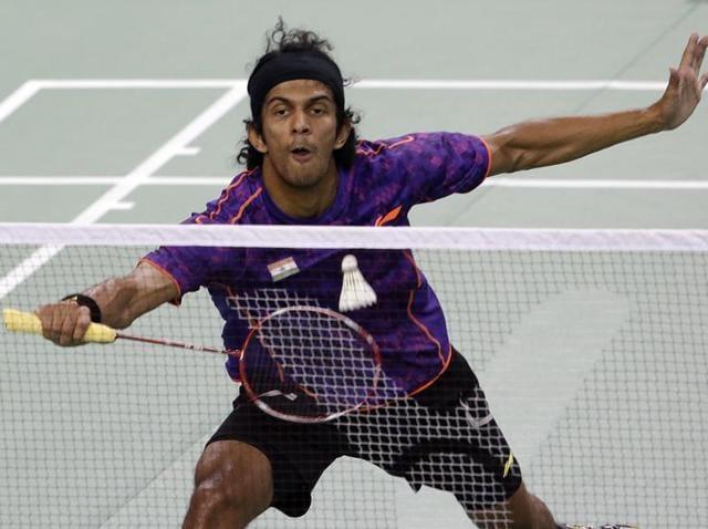 India's Ajay Jayaram returns a shot during the men's singles final of the Korea Open badminton super series against China's Chen Long in Seoul, South Korea, on September 20, 2015.
