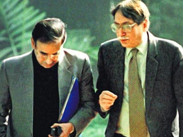 Then RAW chief AS Dulat (right) with former IB chief Shyamal Dutta outside the PMO in 1999.(ht file photo)