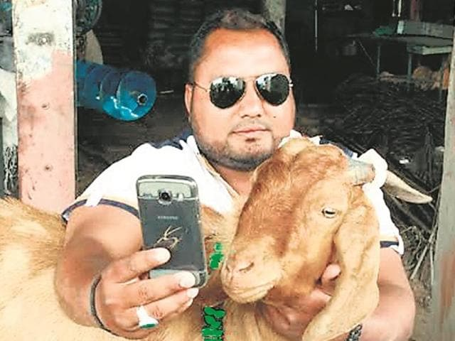 A man taking selfie with male goat that gives milk in Barwani. Photo/HT