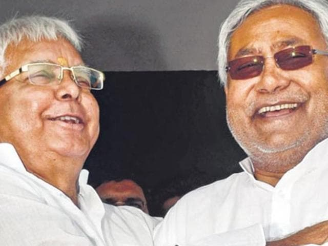 Lalu Prasad (left) and Nitish Kumar are alliance partners in the upcoming Bihar elections.