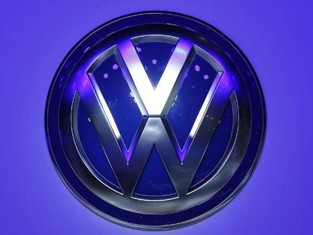 The logo of Volkswagen is pictured during a media preview day at the Frankfurt Motor Show (IAA) in this file photograph.