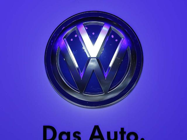 Volkswagen logo is pictured during a media preview day at the Frankfurt Motor Show.