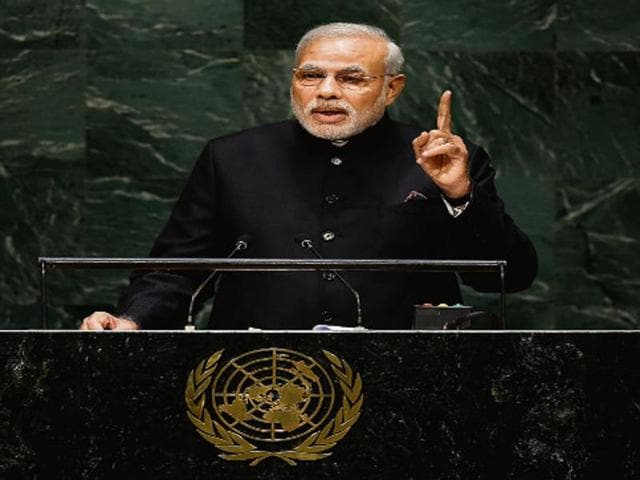 Prime Minister Narendra Modi at the United Nations General Assembly on September 27, 2014.