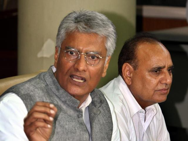 Punjab Congress Legislature Party leader Sunil Jakhar with party MLA Tarlochan Singh Soondh, while addressing the media in Chandigarh on Monday; and (right) deputy chief minister Sukhbir Singh Badal arriving at the Vidhan Sabha.