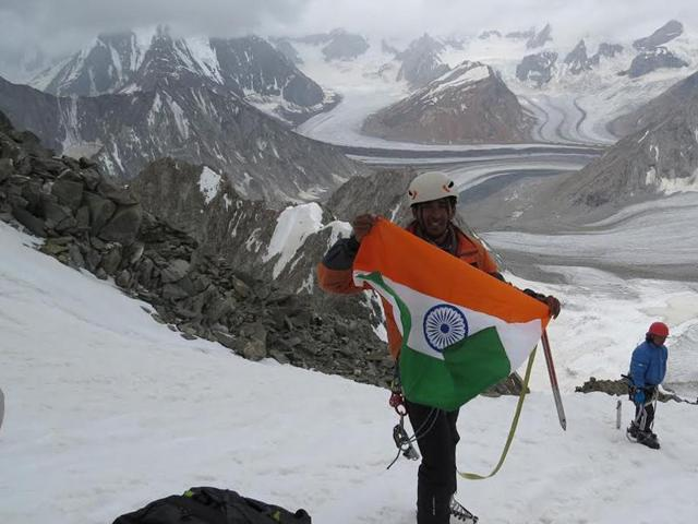 Aditya Kulkarni after his group successfully climbed an unnamed peak during an expedition organised by Indian Mountaineering Foundation.
