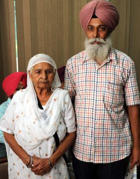 War widow Darshan Kaur with her son Lakhbir Singh in Patiala.
