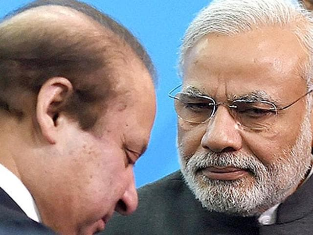 Prime Minister Narendra Modi with Pakistani Prime Minister Nawaz Sharif at the Shanghai Cooperation Organization summit in Ufa, Russia on Friday.