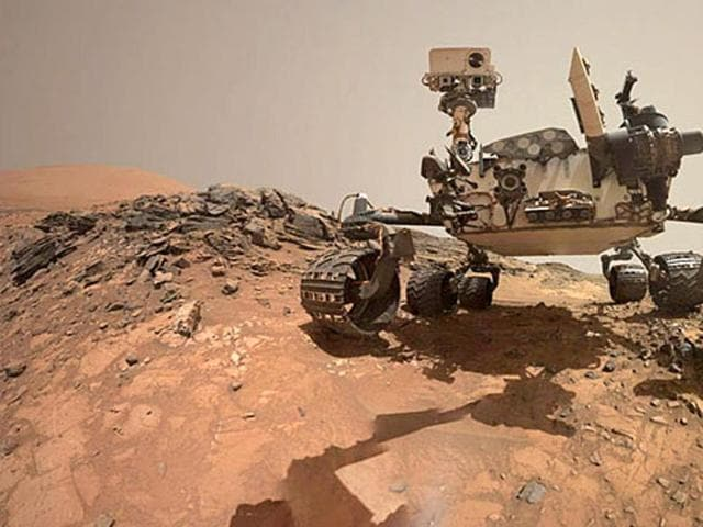 This low-angle self-portrait of Nasa's Curiosity Mars rover shows the vehicle at the site from which it reached down to drill into a rock target called