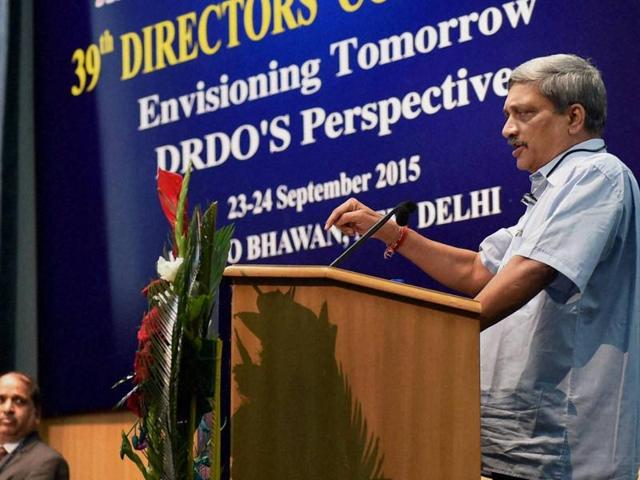 Defence minister Manohar Parrikar addresses the 39th Directors Conference