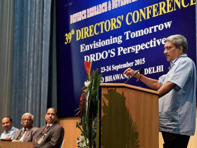 Defence minister Manohar Parrikar at the 39th Directors Conference in New Delhi on Wednesday.