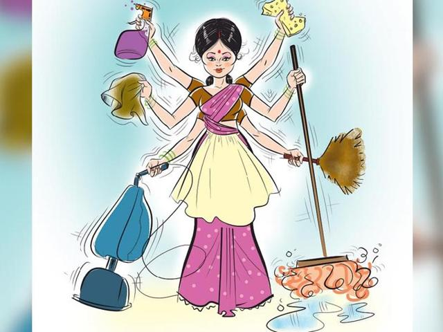 Illustration of a woman juggling many household jobs.