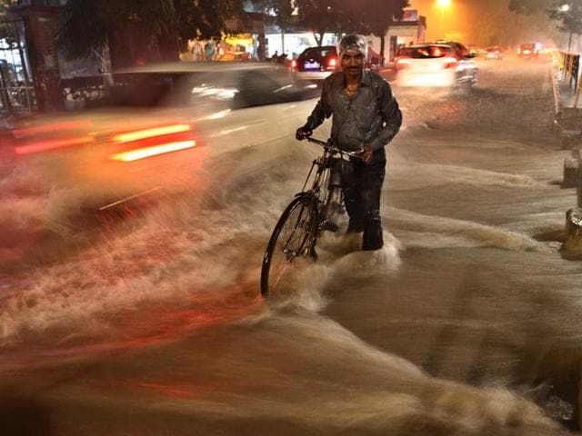 Commuters caught in the deluge in Phase 5, SAS Nagar.