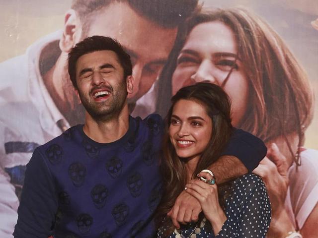 Ranbir Kapoor and Deepika Padukone share a light moment during the trailer launch of Tamasha in Mumbai.