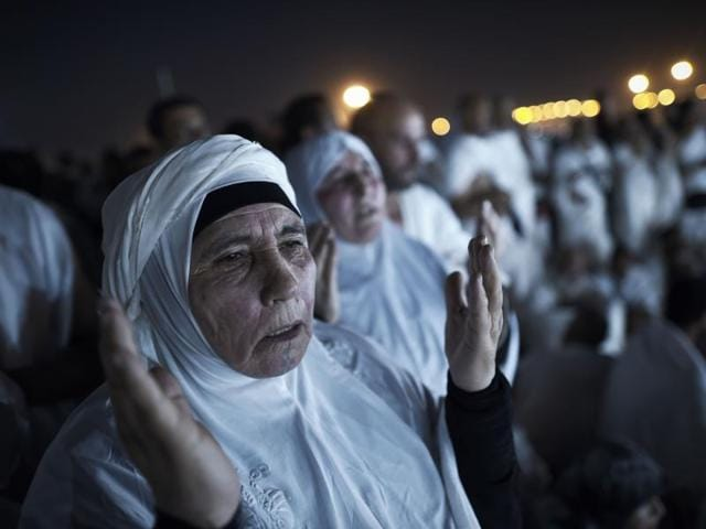 Muslim pilgrims join one of the Hajj rituals on Mount Arafat near Mecca on Wednesday.