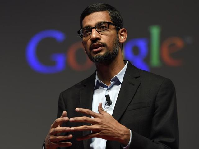 Google CEO Sundar Pichai giving a keynote address during the Mobile World Congress (MWC) in Barcelona, Spain.