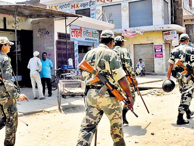 Security personnel keep vigil in the violence-hit areas of Muzaffarnagar.