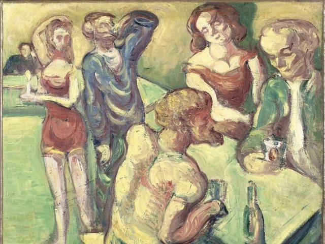 """Emile Bernard (1868-1941) """"At the cabaret"""" - 1887."""