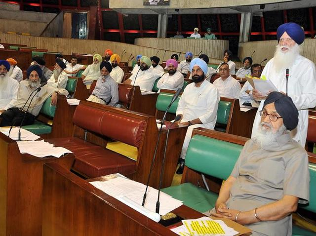 Agriculture minister Tota Singh (standing right) speaking during a Vidhan Sabha debate on Wednesday.