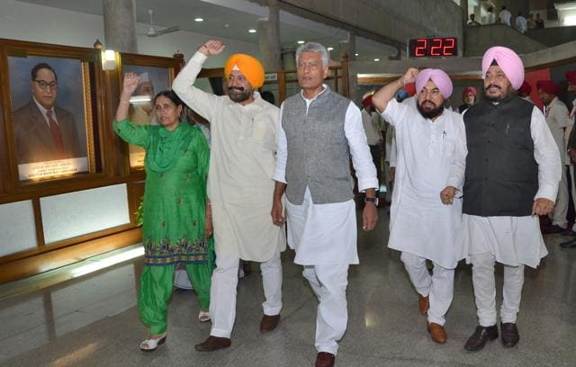 Punjab CLP leader Sunil Jakhar (centre) during a Congress walkout from the state assembly in Chandigarh on Wednesday.