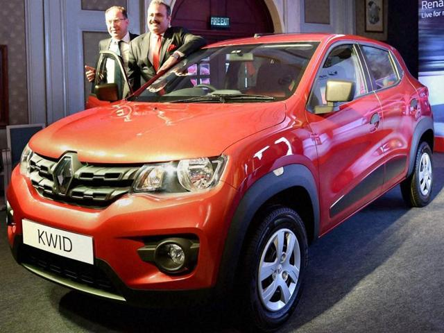 CEO and MDof Renault India, Sumit Sawhney addresses during the launch of the new car Renault Kwid in New Delhi on Thursday.