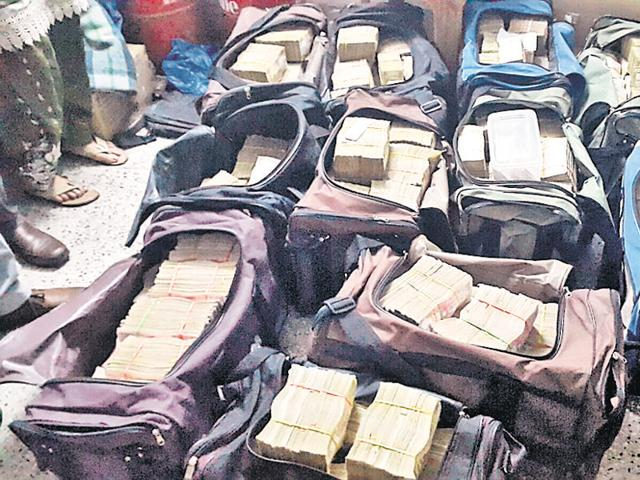 The cash seized in West Bengal.