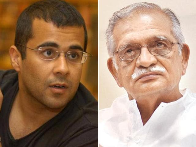 Chetan Bhagat and Gulzar met at an event recently where reportedley they had a face-off.